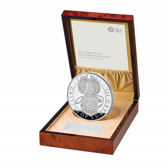 The Queens Beast - The Griffin of Edward III  1 kilo proof coin  silver - zvìtšit obrázek