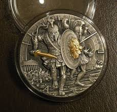 Ares - BÙH VOJNY - Ares god of war coin silver 2 oz 2017 - zvìtšit obrázek