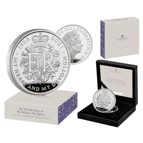 Queen Ellizabeth 95th Birthday coin Piedfort silver proof 56,56gr Ag proof - zvìtšit obrázek